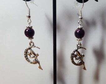 On the 2 Purple Moon fairy earrings