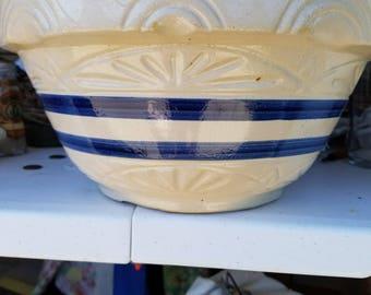 White with Blue Stripe Antique Farmhouse Bowl