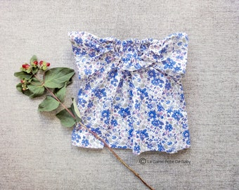 Liberty Of London Blouse with gathered collar and butterfly sleeve for baby girl - Aloha Betsy, Blue