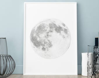 Moon Prints Moon Phase Full Moon Poster Moon Wall Art Decor Moon Artwork Moon Art Moon Decor Full MOON