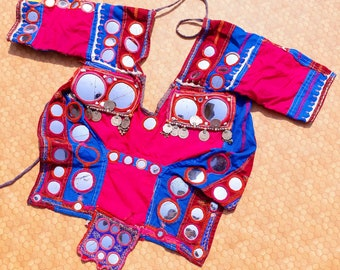 Vinatge/Old /Amazing/Choli/Tribal /Kutch /Rajasthan/ Gujarat/Rabari/Beeds/Mirror/ Work/ & /HandEmbroidery/Belly /Dance /Top/Blouse/Authentic