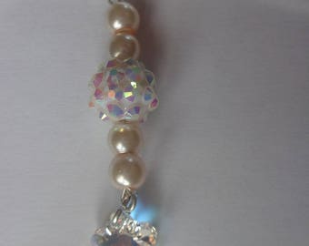 Bookmarks beads white and pale pink mother of Pearl and swarovski element flower stone
