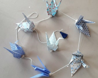Origami cranes Japanese paper - blue Garland