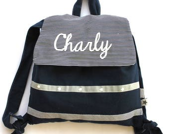 Customizable backpack cotton Navy 2/5 years
