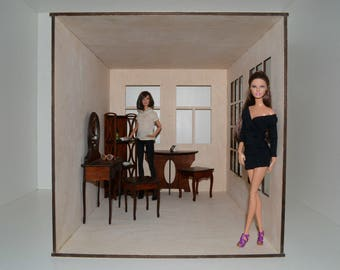 Roombox for Dolls 12 in WOOD 1:6 Dollhouse Diorama Stackable ideal for FR and other dolls