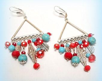"""Gitanes """"Composition ethnic Turquoise"""" chandelier earrings"""