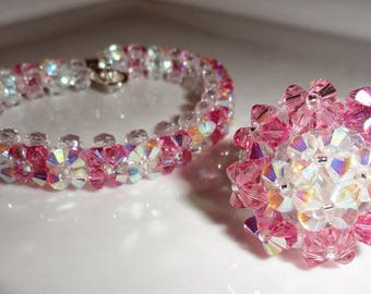 La Vie en Rose set made with Swarovski Crystal beads