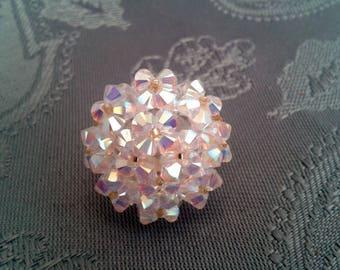 White diamond ring in Swarovski Crystal beads