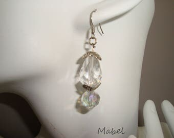 Earrings beads transparent white Crystal, antiqued silver cap, wedding