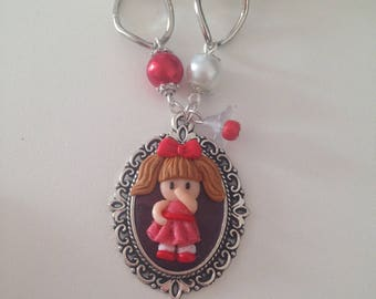 """Necklace fimo """"doll on cabochon"""""""