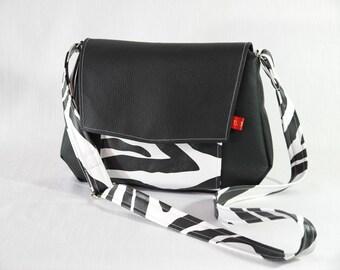 Zebra and black shoulder bag faux leather