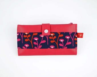 Wallet Navy Blue and fuchsia faux leather checkbook cover