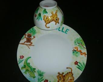 Kids jungle pattern Dinnerware serving bowl + plate