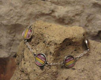 "Four cabochons ""collection series of colors"" bracelet"