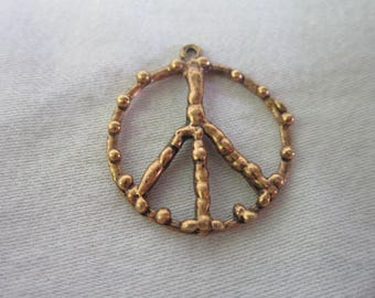1960's Retro Peace Sign Necklace Pendant or Charm Groovy
