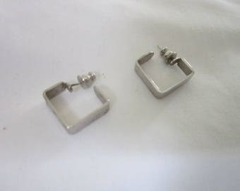 Retro Chrome Mod Square Pierced Earrings