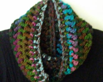 Crocheted Infinity scarf- Multicolored