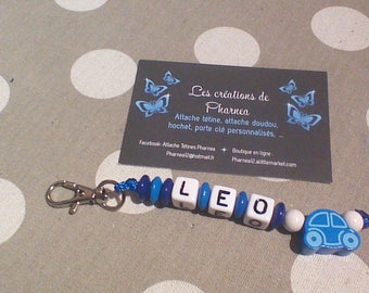 Keychain personalized with name car blue medium and dark blue white