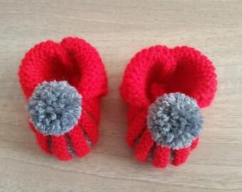 Booties pumpkin or Dutch hand knitted