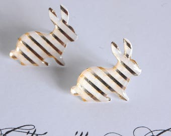 Rabbit ear studs, gold and white stripe