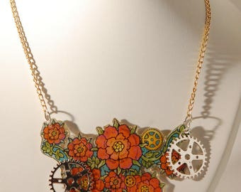 Steampunk necklace, flowers and wheels, orange and turquoise