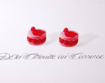 Raspberry, pink and red button ear studs