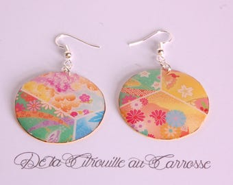 Earrings multicolored Japanese pattern