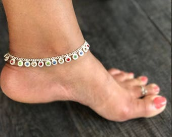 Multi-color Circular Sterling Silver Anklet