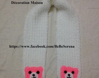 the little pink Teddy neon crochet scarf