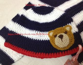 Crochet striped with boy bear Beanie
