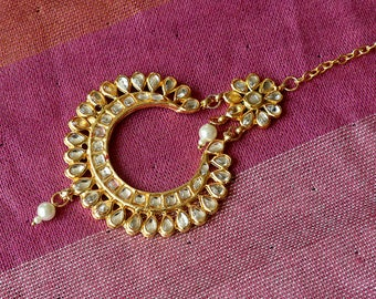 Gold Tone Kundan Tikka   Indian Jewelry   Bollywood Jewelry