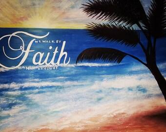 Seaside acrylic canvas painting