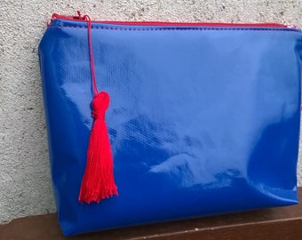 Clutch bag blue de France lined cotton red and white makeup/pouch