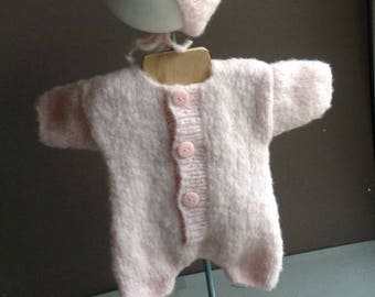 Layette set premature combination with hand made knitted bonnet