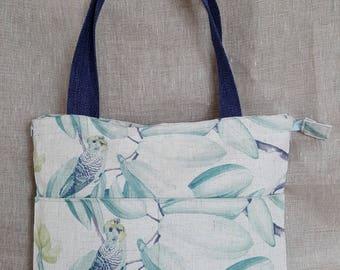 pastel linen tote bag