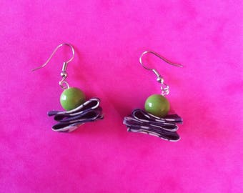 small green bead and wrap earrings