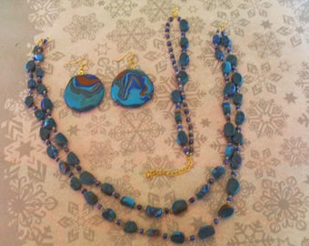 set (necklace, bracelet and earrings) original, unique (turquoise, Brown and Navy)