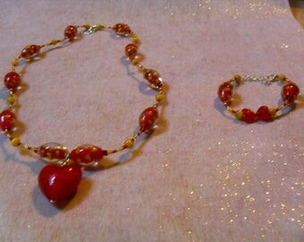 set (necklace and bracelet) chic, classy and modern (red and yellow)