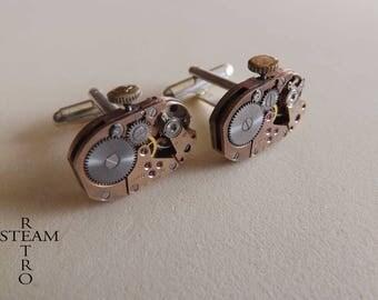 Lanco watch movement cuff links with clock cuff links, watch steampunk cufflinks - silver - Ruby
