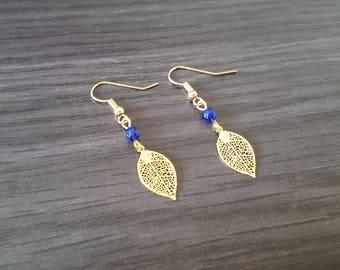Earrings blue gold leaf