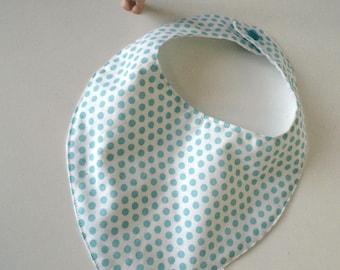Mint and white polka dots bandana bib size 0/6 months