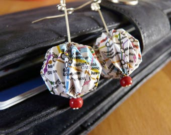 Origami earrings recycled subway map balls