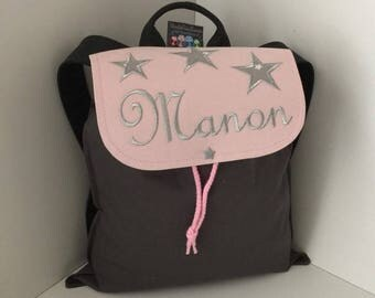 Kids backpack school bag personalized with name pattern size silver stars 2/3 years pink and gray
