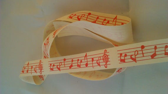 3 RUMD / cotton twill Ribbon pink music note pattern