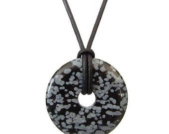 Chinese pi 30mm - speckled Obsidian donut pendant necklace