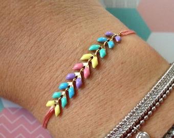 Pastel on sliding knot bracelet
