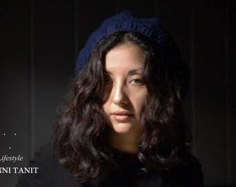 "Hat ""Bohemian"" Tower 54 cm Crochet acrylic Admiral/Navy Blue"