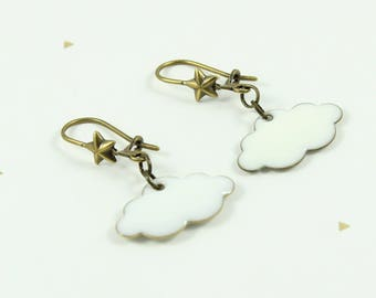 003 white clouds and star brass earrings