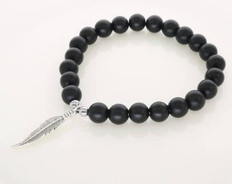 Beautiful bracelet matte black agate stone beads