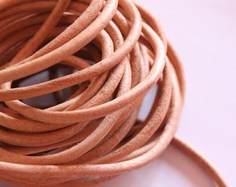 natural round leather 5 mm, 50 cm cord